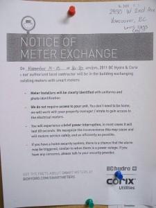BC Hydro, November 2011, Notice of Meter Exchange