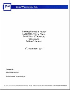 John Williamson Inc., report 1 (Building Remedial Report), 2011-11-03, cover